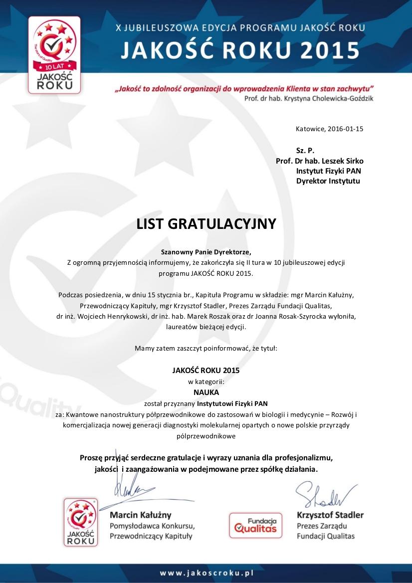 List gratulacyjny za zdobycie tytułu JAKOŚĆ ROKU 2015
