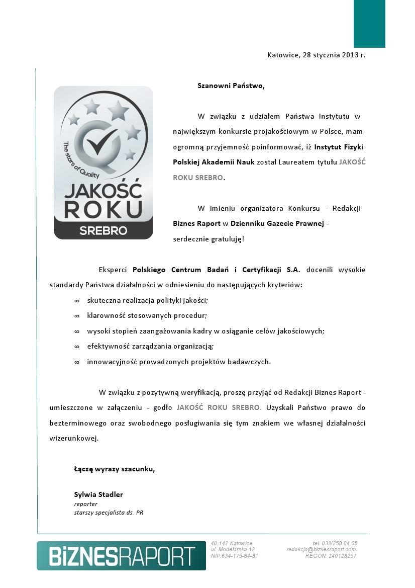Dyplom za zdobycie tytułu JAKOŚĆ ROKU 2012