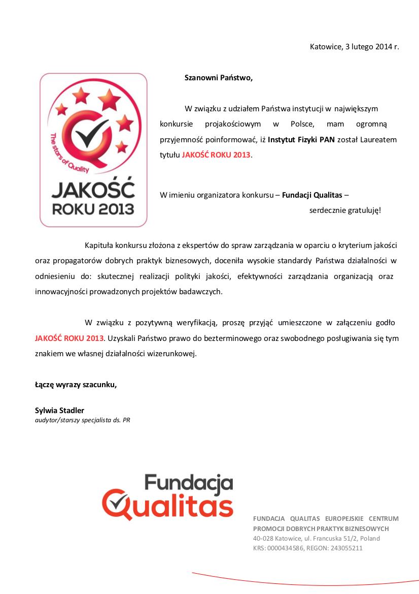 Dyplom za zdobycie tytułu JAKOŚĆ ROKU 2013