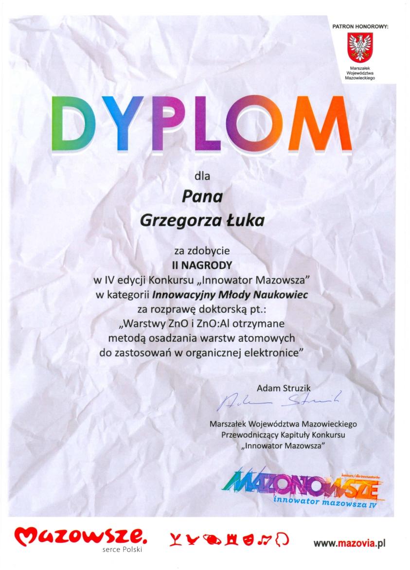 Dyplom za zdobycie II miejsca w konkursie Innowator Mazowsza