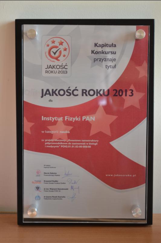 Dyplom JAKOŚĆ ROKU 2013