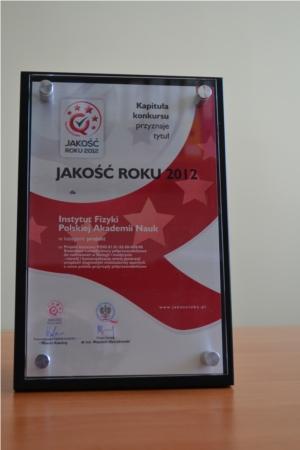 Dyplom JAKOŚĆ ROKU 2012 2