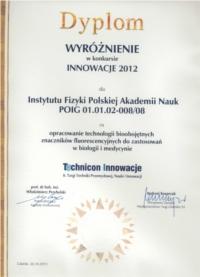 Dyplom Technicon Innowacje VIII 2