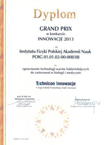 Dyplom Technicon Innowacje IX 1