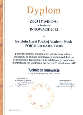 Dyplom Technicon Innowacje IX 2