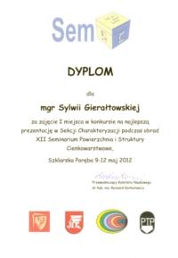 Dyplom mgr Sylwii Gierałtowskiej