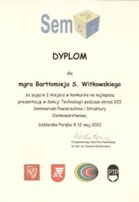 Dyplom mgra Bartłomieja Witkowskiego